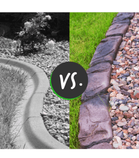 Normal curb versus natural stone