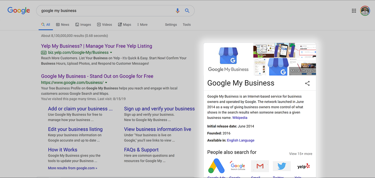 Google my business in an online search results page